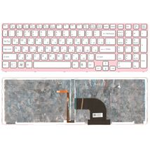 Клавиатура Sony Vaio (SVE17) White, с подсветкой (Light), (Pink Frame) RU