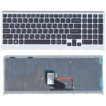 Клавиатура Sony Vaio (VPC-F219fc) с подсветкой (Light), Black, (Gray Frame) RU