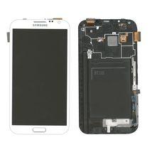 Матрица с тачскрином (модуль) для Samsung Galaxy Note 2 GT-N7100 белый с рамкой