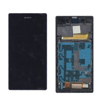 Матрица с тачскрином (модуль) для Sony Xperia Z1 C6902 черный с фиолетовой рамкой