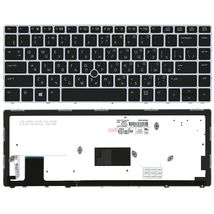 Клавиатура HP EliteBook Folio (9470M) с подсветкой (Light), с указателем (Point Stick), Black, (Silver Frame) RU