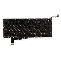 Клавиатура для ноутбука для ноутбука Apple MacBook Pro (A1286) (2011, 2012 года) с подсветкой (Light), Black, (No Frame), без (SD), RU (горизонтальный энтер)