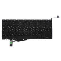 Клавиатура для ноутбука для ноутбука Apple MacBook Pro A1286 (2011, 2012 года) с подсветкой (Light), Black, (No Frame), без (SD), RU (вертикальный энтер)