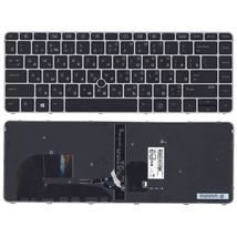 Клавиатура HP Elitebook (745 G3) Black с указателем (Point Stick), (Gray Frame) RU