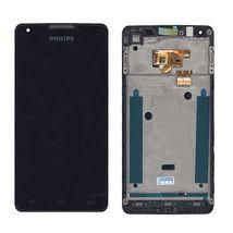 Матрица с тачскрином (модуль) для Philips Xenium W6610 черный с рамкой